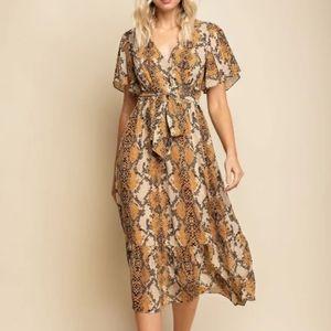 Gilli mustard snake print dress